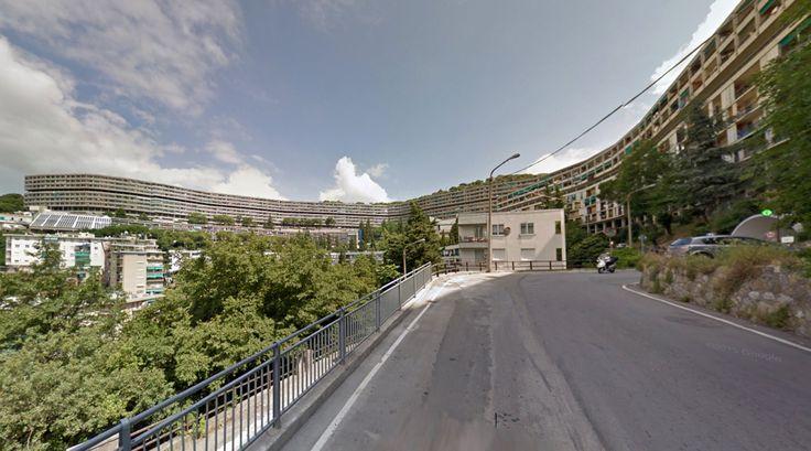 Il Biscione (The Snake) - Housing - 1956-68 by Luigi Carlo Daneri & Eugenio Fuselli - #architecture #googlestreetview #googlemaps #googlestreet #italy #genoa #brutalism #modernism