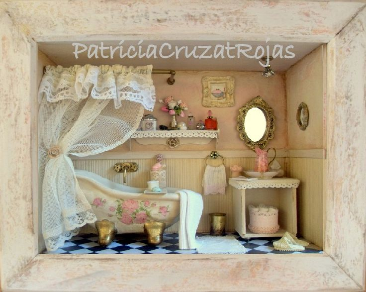 Ba o rustico rosa con miniaturas hecho por encargo ba os - Vitrinas para miniaturas ...