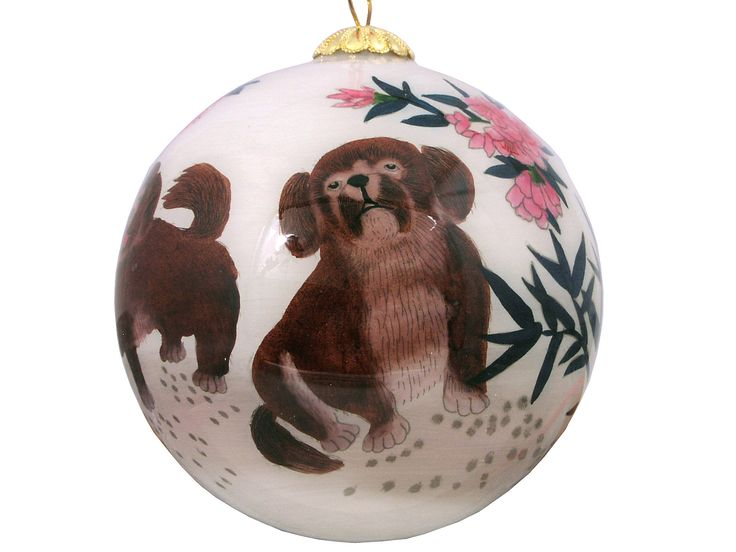 Dogs and Cherry Blossoms Eglomise Painted Glass Ornaments