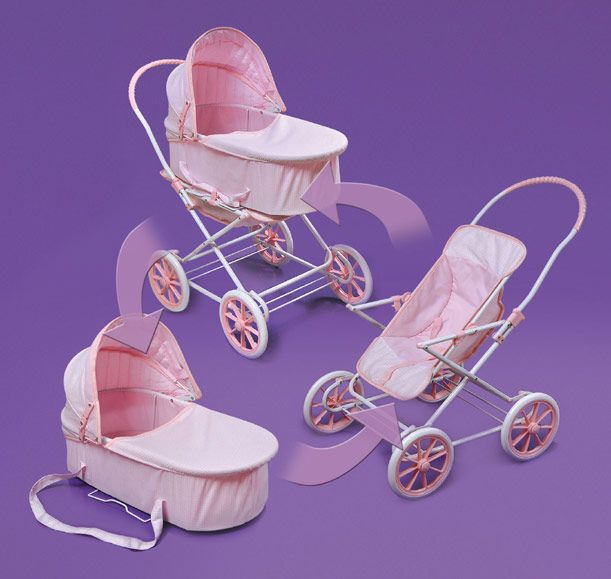 Pink Gingham 3 In 1 Doll Pram Carrier Amp Stroller Www