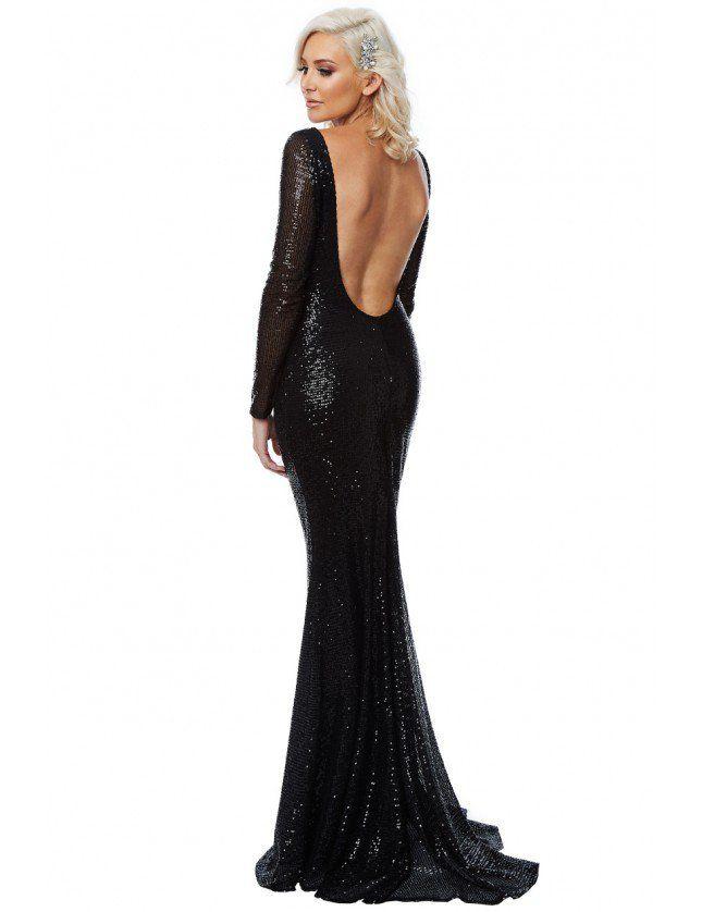 Stephanie Pratt – Open Back Sequin Maxi Dress – Black