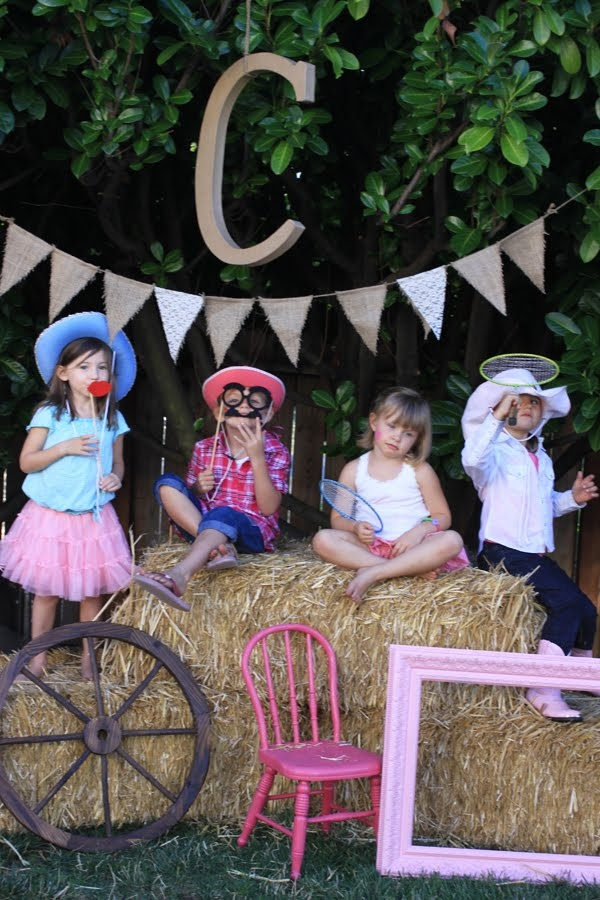 cowgirl party ~ photo booth ~ have props in basket for kids to get picture taken