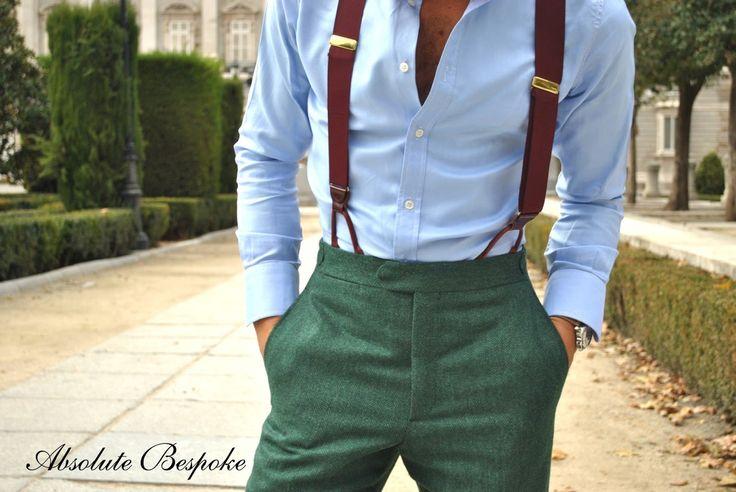 Extraordinariamente bien vestido Casual Tirantes Elegancia Absolute Bespoke winter green suit