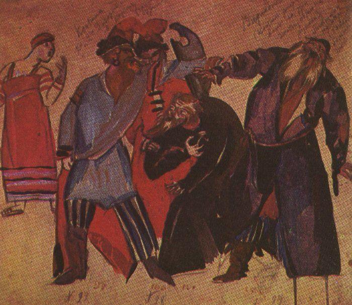 Эскиз художника Ф. Ф. Федоровского к опере «Борис Годунов». Сцена в корчме