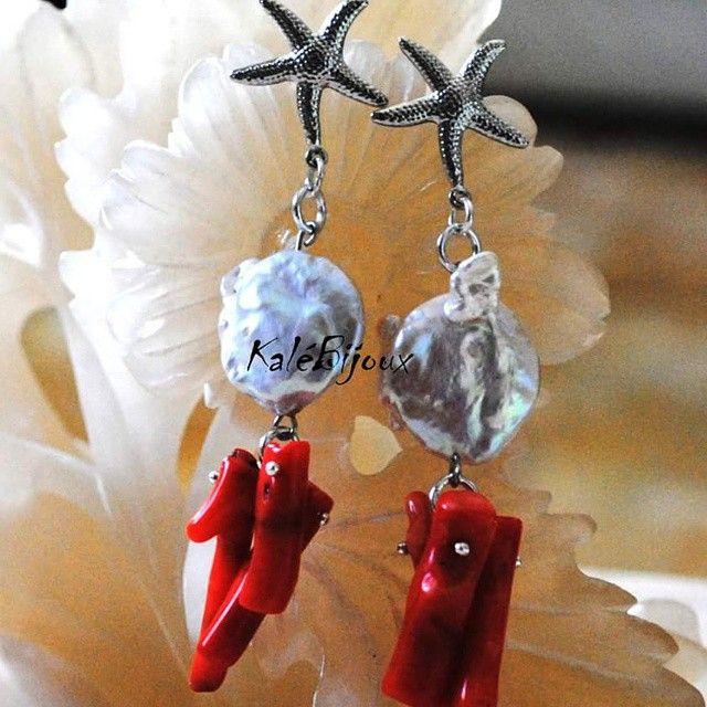 Orecchini in ottone, perle e corallo bambù