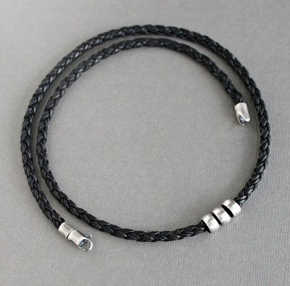 Naturally dyed* black leather cord is round braided for this mens choker style n…   – Hooks and clasps