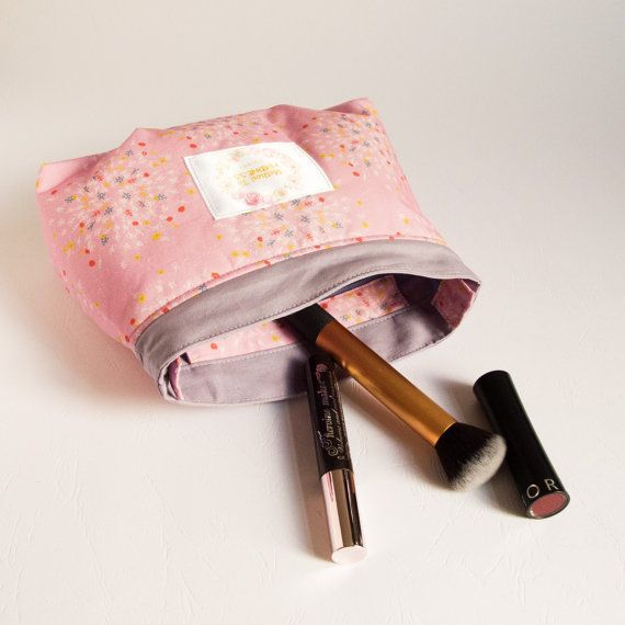 Roomy makeup bag with pink flowers lined with lavender - travel cosmetic pouch with compartments