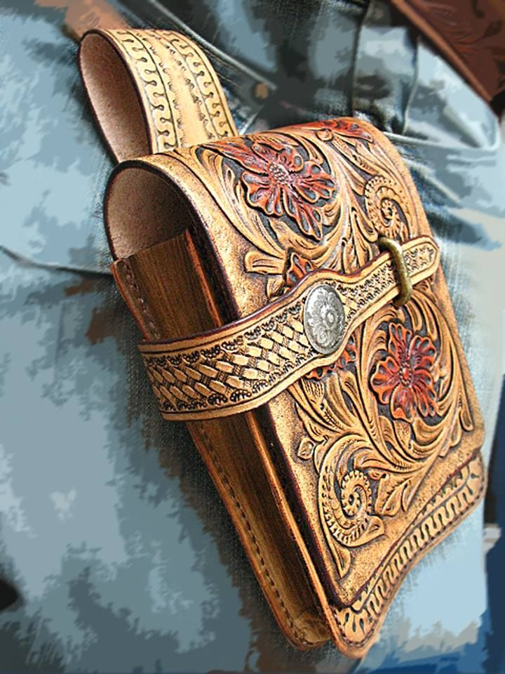 Biker Belt Bag Tooled leather  #wallet #biker #tooledLeather