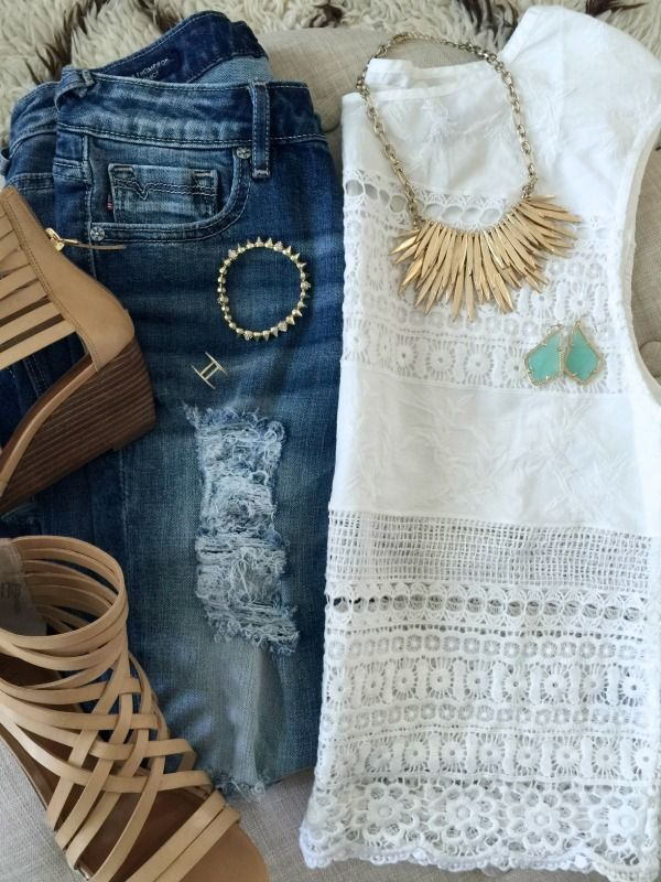 Summer Fashion - embroidered lace top