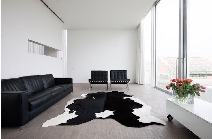 De woonkamer is heel modern en abstract. Er is een grote lichtinval door de grote ramen die van de vloer tot aan het plafond gaan. de zwarte leren zetels, en de designers zetels geven een moderne toets in het interieur en het tapijt van koeien leer maakt het af. Als decoratie hebben ze er bloemen gezet wat het ook iets huiselijker maakt.