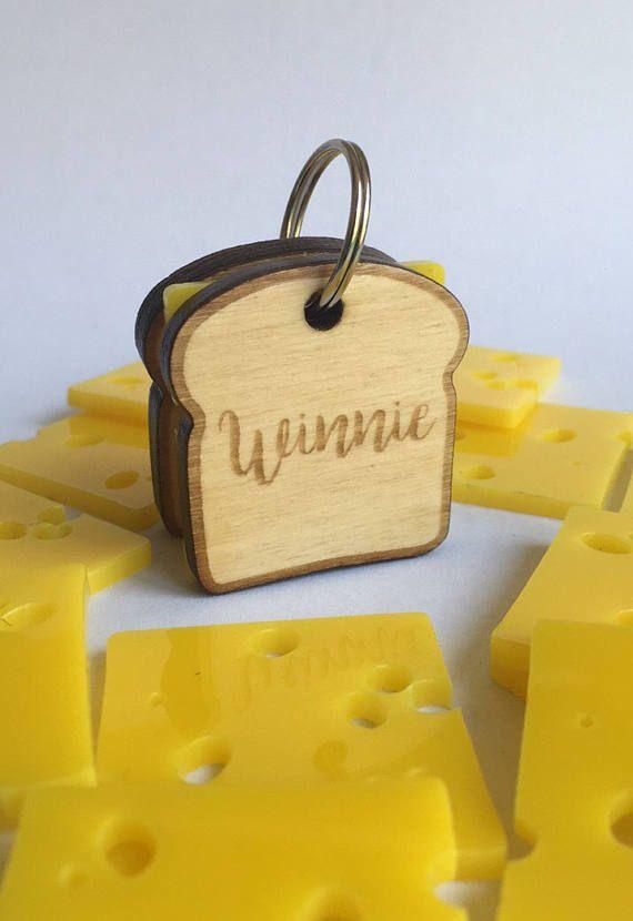 Médaillon pour chien Sandwich au fromage - médaille d'identification - pain brioche
