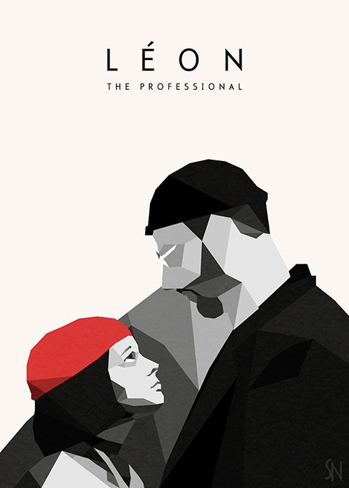 Leon: The Professional (starred Jean Reno and Natalie Portman) geometric movie poster design. Great Movie