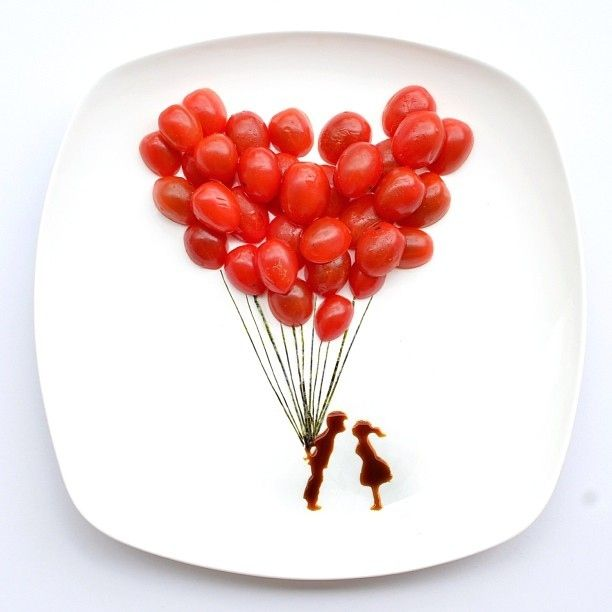 Cherry Tomato Balloons | 13 Incredible Tiny Paintings Made Out OfFood