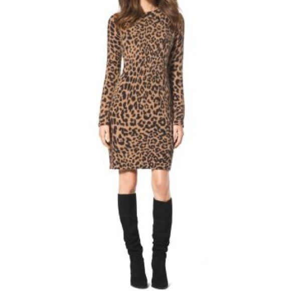 NEW NWT Michael Kors Cheetah Dress Angora blend Dress/Sweater Tunic with reverse v neck back detail and gold chain.  Cheetah print. Brand new with tags. Authentic Michael Kors - pet free smoke free home. A great dress! Michael Kors Dresses Long Sleeve