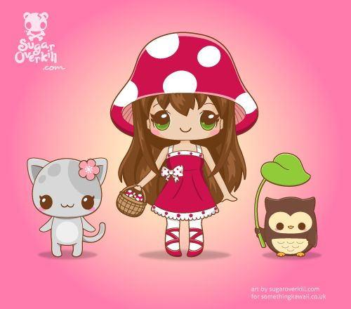 A Kawaii mushroom girl, a Sakura kitty, and an owl as mascots for the online Kawaii store www.somethingkawaii.co.uk