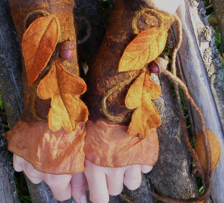 Winter Oak Leaf Nuno Felt Faerie Cuffs.