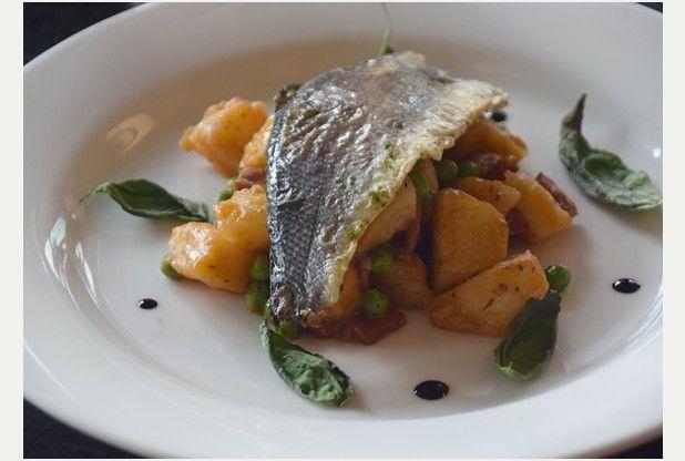Recipe: Pan fried sea bass with chorizo fricassee and basil crisps
