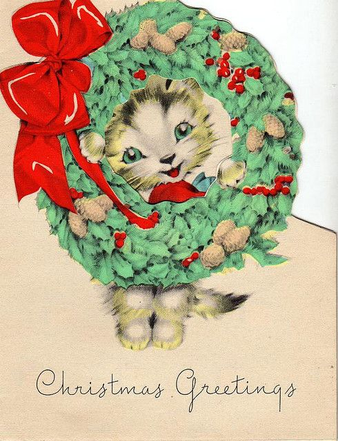 Vintage Kitty Christmas card