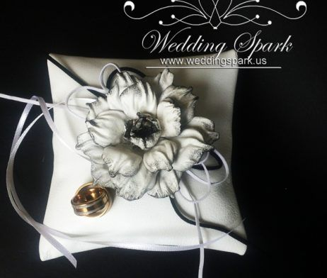 Genuine leather ring pillow White black peony