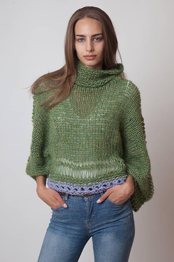 Crop sweater with cowl neck soft alpaca wool jumper moss