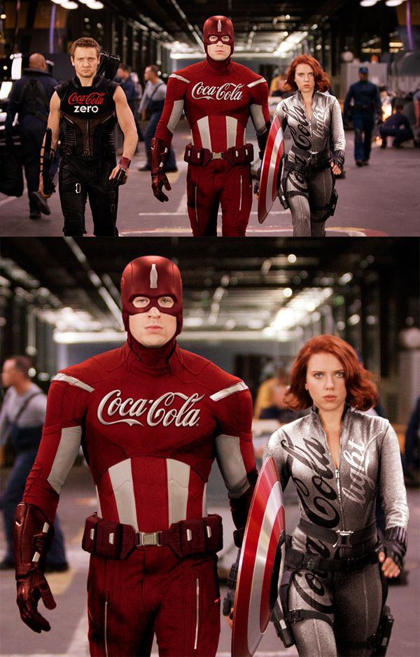 Avengers being sponsored by Coke makes sense, but Cap should still have the blue in his costume!