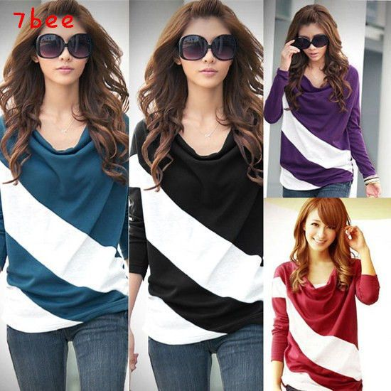 Korean Fashion Womens Batwing Striped Colorblock Casual Shirt T-Shirt Blouse Top 1. PURPLE 2. RED 3. BLACK 4. BLUE