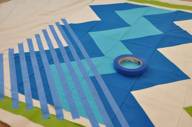 Painters tape as guideline for quilting the top.