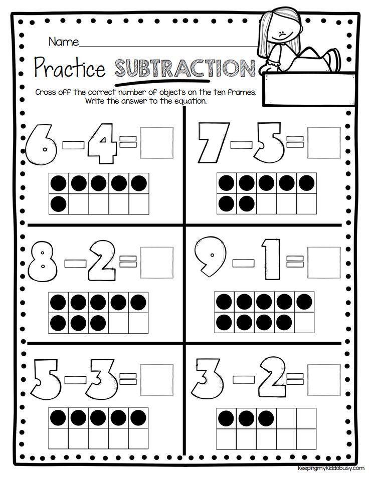 Subtraction Kindergarten Worksheets Ten Frame Subtraction Kindergar Math Subtraction Addition And Subtraction Worksheets Kindergarten Subtraction Worksheets