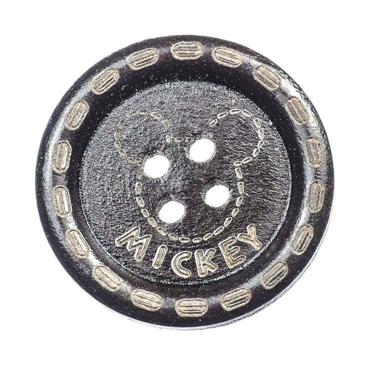 Bouton Rond Mickey Bois Scrapbooking / Couture / Mercerie