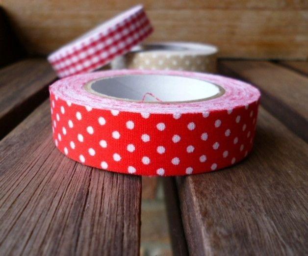 Masking Tape - Fabric Tape Rot Weiss Gepunktet Stoffklebeband - ein Designerstück von krealiebst bei DaWanda