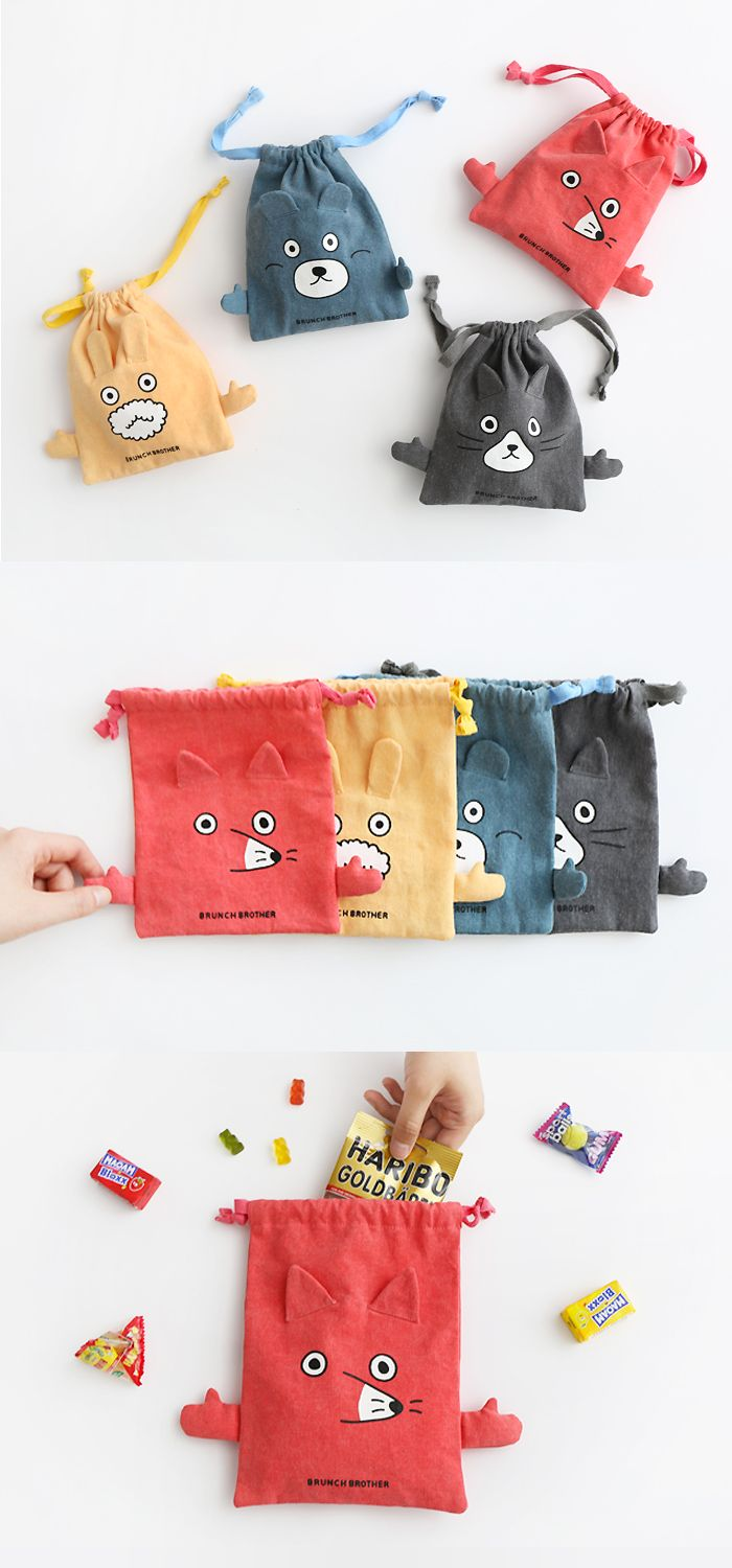 Store your belongings in this irresistible Brunch Brother Drawstring Pouch! Each pouch is a different animal that will help you by carrying your items!