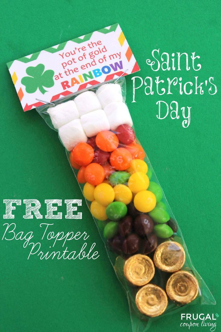 St Patricks day crafts for kids! FREE St. Patrick's Day Bag Topper Printable on Frugal Coupon Living - Kids Craft, St Patrick's Day Craft, FREE Bag Topper, Rainbow Party, FREE Party Favor. Rainbow Birthday idea too!