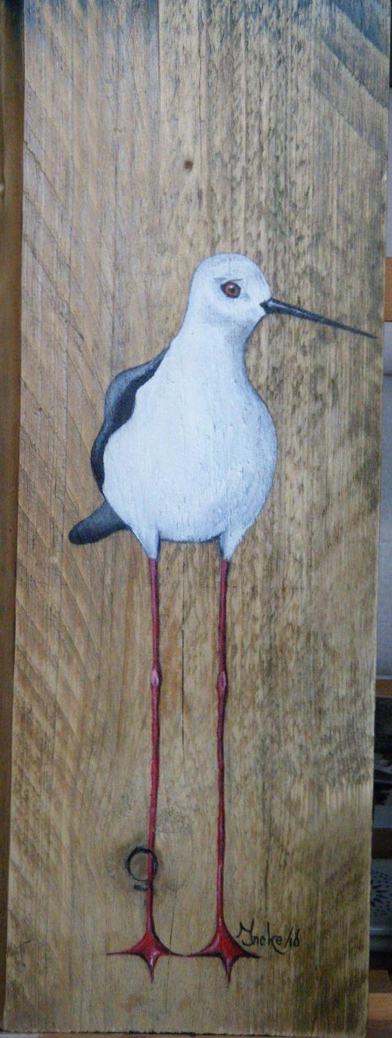 De steltkluut. Geschilderd op steigerhout met acryl door Ineke Nolles.