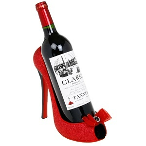 Wine Shoe Bottle Holder, Red Glitter Who needs a gift box when you can present your gift in something like this!