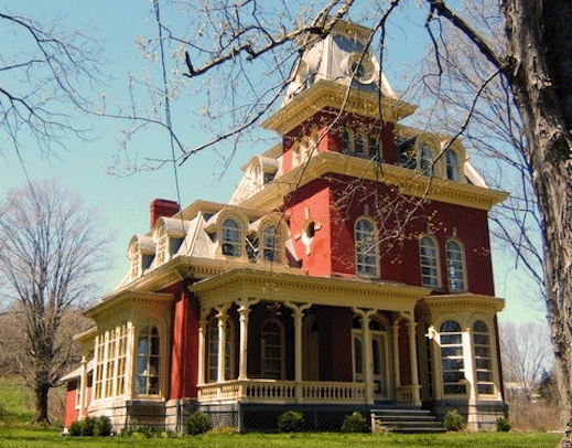 Captivating The RED House  2nd Empire French Architecture Western New York