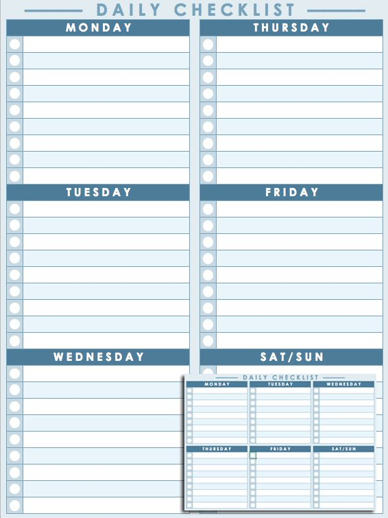 Daily Checklist Template | Download | Daily checklist ...