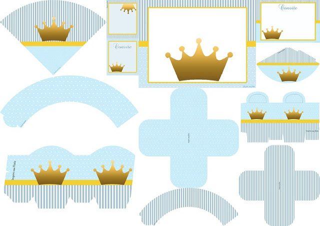 Corona en Fondo Celeste: Imprimibles para Fiestas, Invitaciones y Cajas para Imprimir Gratis.