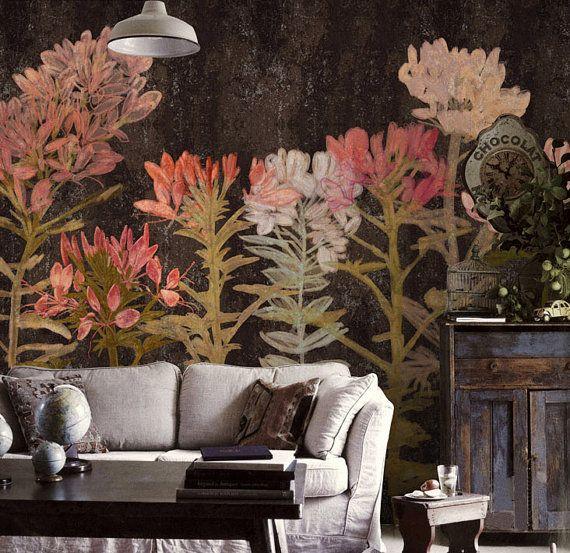"55"" x 35"" Spring Floral Wallpaper Art Bedroom Living Room Retro Apricot Flower Wall Mural Large Print Ivory Dark Brown Aqua Blue Temporary"