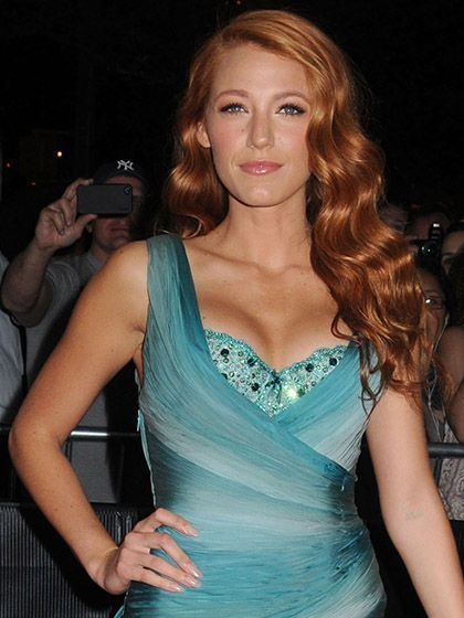Blake Lively with red hair and vintage waves at the Time 100 Gala in 2011 | allure.com
