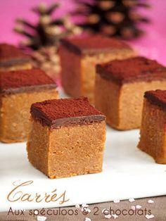 Petits carrés aux spéculoos & deux chocolats -