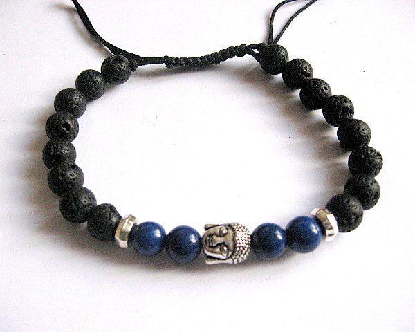 Lapis lazuli si roca vulcanica bratara barbati femei, bratara unisex - idei cadouri