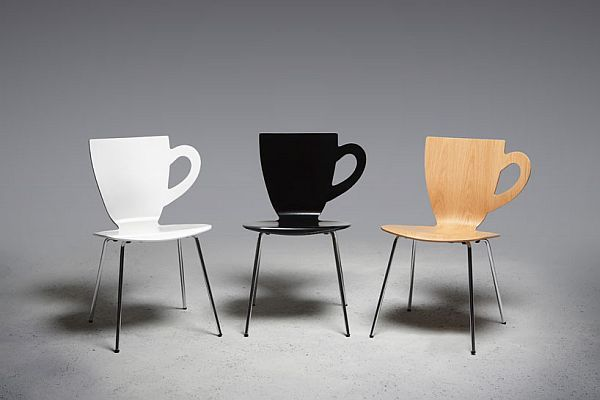 Such cool chairs for a cute coffee shop ;) the handle would be great to hang your purse on!