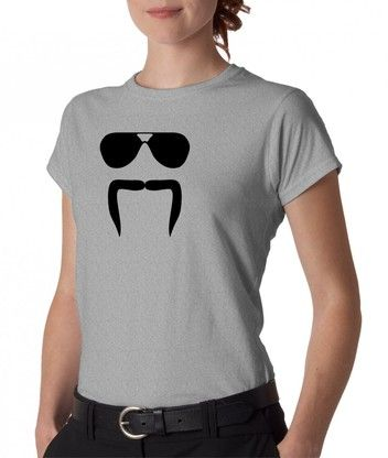 Junior's Aviator Sunglasses Horseshoe Mustache T-Shirt. Fun and silly,  perfect for a carefree weekend. Comes in gray, lavender purple, pink, and  white.