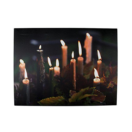 Felices Pascuas Collection LED Lighted Flickering Candles with Fall Leaves Canvas Wall Art 11.75 inch x 15.75 inch
