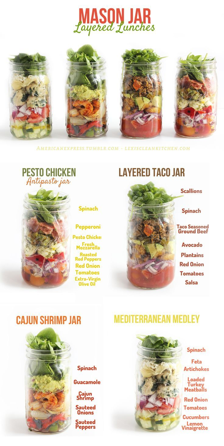 Mason jar salads are great for preparing ahead of time and taking on the go! These all look delicious!