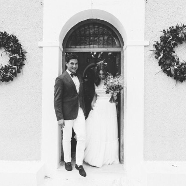 Congratulations are in order to, our #costarellosbride, Maria, who looked fab during her #greekchic island wedding! /Reminder 3 days left to buy our latest bridal collection online @modaoperandi! Link on bio! #MOMatriMOny #modaoperandi #CostarellosBridal