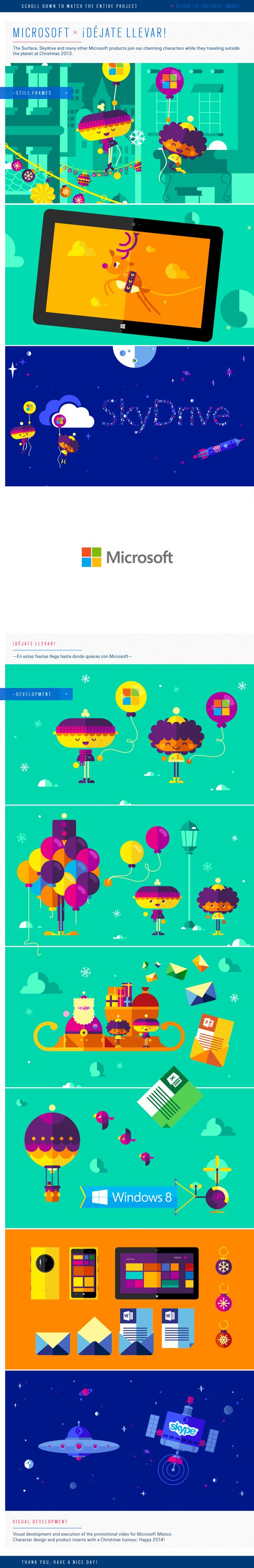 Beautiful #2D animated #promoVideo for Microsoft Mexico, Christmas 2013