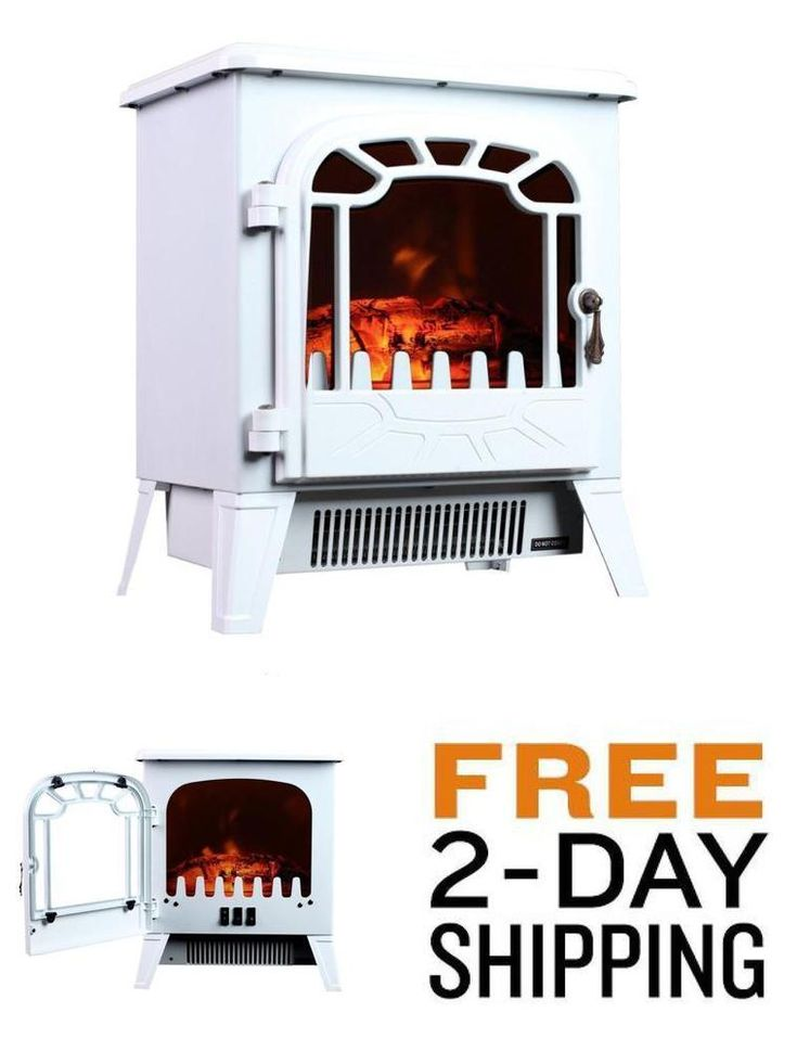 Portable Electric Fireplace Stove 750/1500W Space Heater For Room up 400 sq ft.  #3GPlus
