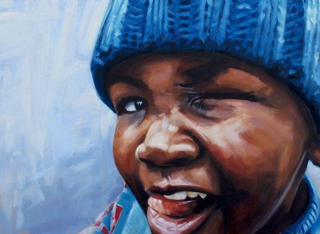 Artist Luke Vehorn Original Oil Painting AIDS orphan subject South African Artist Redux African Portrait