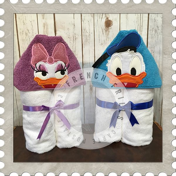 Boy Duck & Applique Girl Duck hooded towel designs. #Embroidery